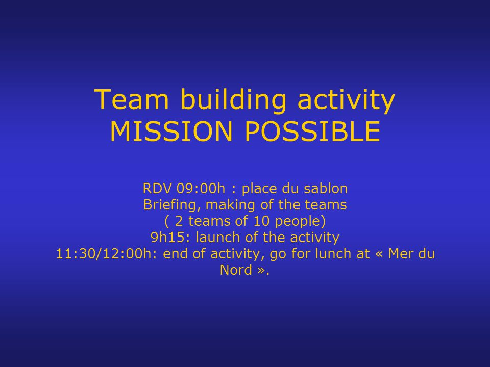 Principle : The idea is to discover Brussels through a challenge between different teams.