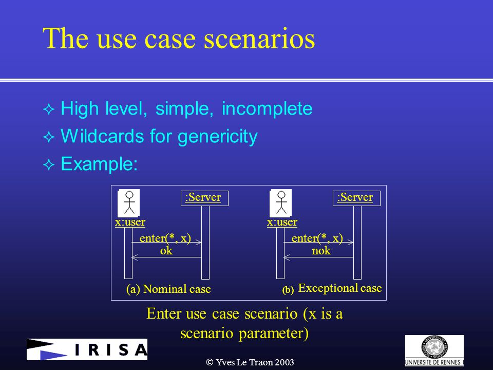  Yves Le Traon 2003 The use case scenarios  High level, simple, incomplete  Wildcards for genericity  Example: Enter use case scenario (x is a scenario parameter) (b) :Server x:user enter(*, x) ok (a) Nominal case (b) Exceptional case :Server x:user enter(*, x) nok