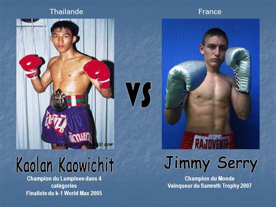 Champion du Lumpinee dans 4 catégories Finaliste du k-1 World Max 2005 Champion du Monde Vainqueur du Samreth Trophy 2007 ThailandeFrance