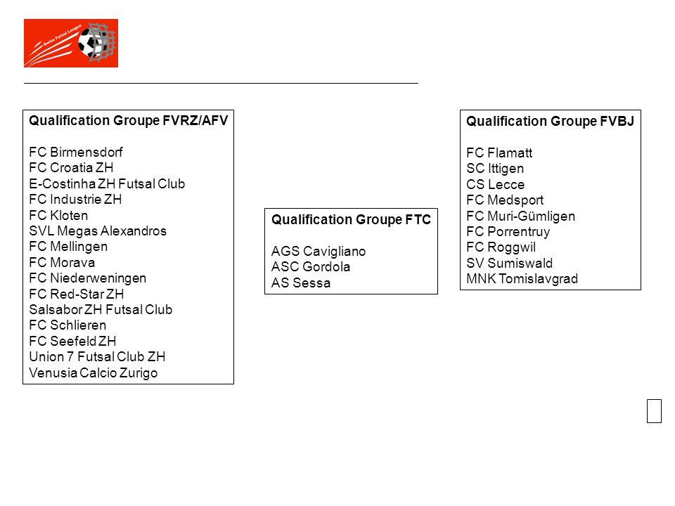 Qualification Groupe FVRZ/AFV FC Birmensdorf FC Croatia ZH E-Costinha ZH Futsal Club FC Industrie ZH FC Kloten SVL Megas Alexandros FC Mellingen FC Mo