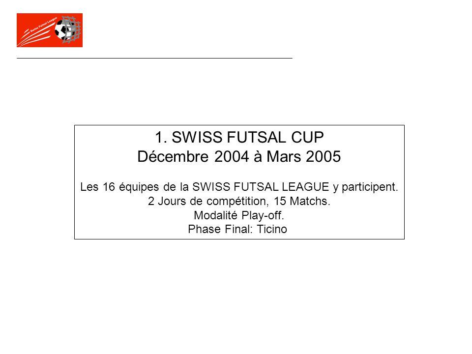 1. SWISS FUTSAL CUP Décembre 2004 à Mars 2005 Les 16 équipes de la SWISS FUTSAL LEAGUE y participent. 2 Jours de compétition, 15 Matchs. Modalité Play