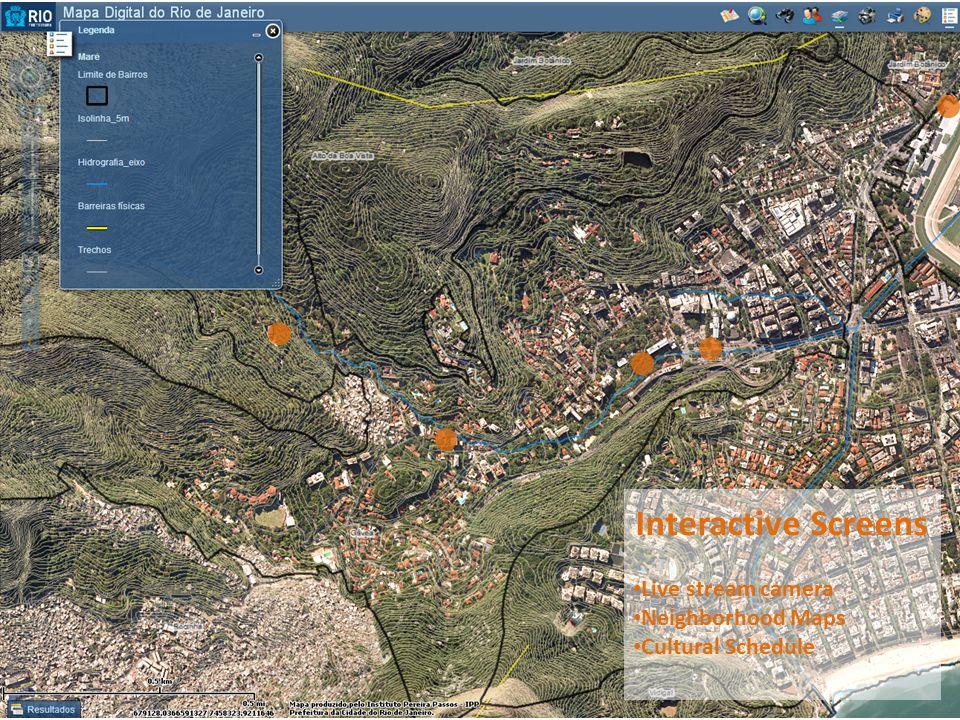 Interactive Screens Live stream camera Neighborhood Maps Cultural Schedule