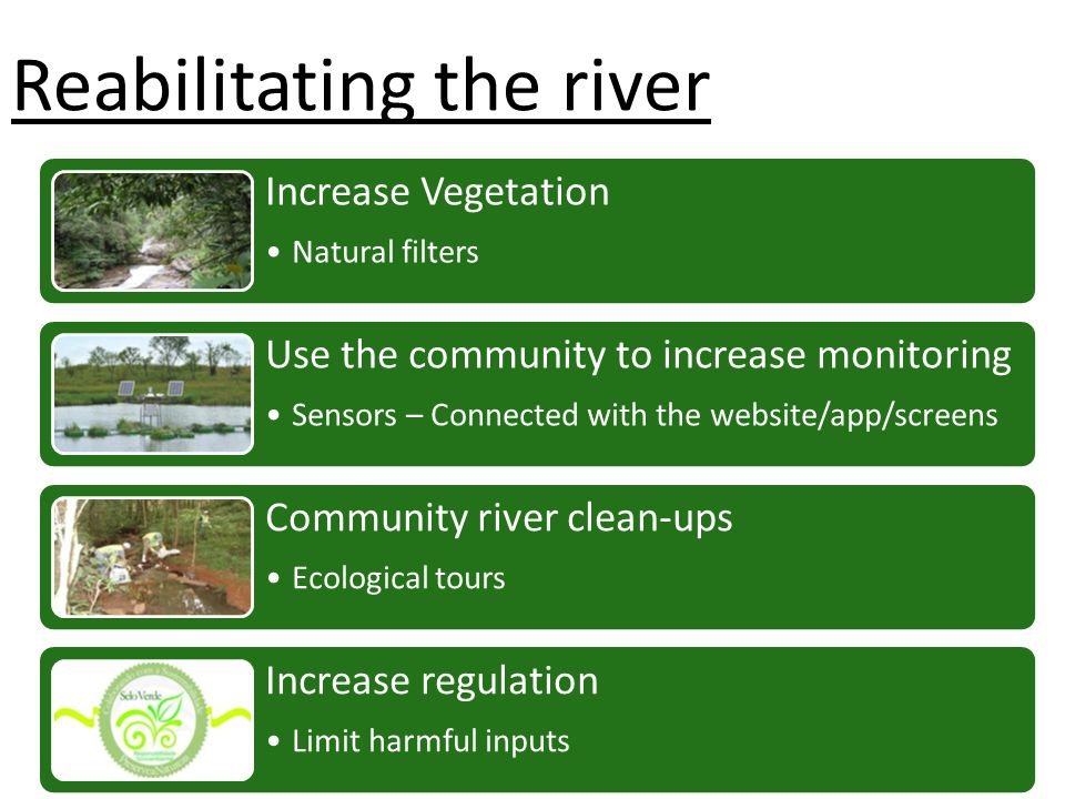 Increase Vegetation Natural filters Use the community to increase monitoring Sensors – Connected with the website/app/screens Community river clean-ups Ecological tours Increase regulation Limit harmful inputs Reabilitating the river