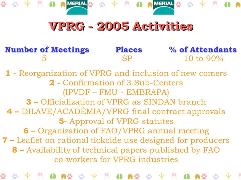 VPRG - 2005 Activities Number of Meetings Places % of Attendants 5 SP 10 to 90% 1 - Reorganization of VPRG and inclusion of new comers 2 - Confirmation of 3 Sub-Centers (IPVDF – FMU - EMBRAPA) 3 – Officialization of VPRG as SINDAN branch 4 – DILAVE/ACADÊMIA/VPRG final contract approvals 5- Approval of VPRG statutes 6 – Organization of FAO/VPRG annual meeting 7 – Leaflet on rational tickcide use designed for producers 8 – Availability of technical papers published by FAO co-workers for VPRG industries