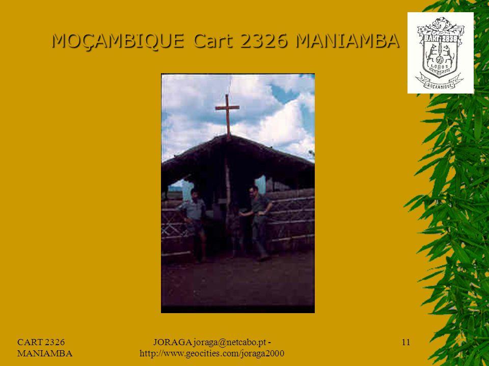 CART 2326 MANIAMBA JORAGA joraga@netcabo.pt - http://www.geocities.com/joraga2000 10 MOÇAMBIQUE Cart 2326 MANIAMBA