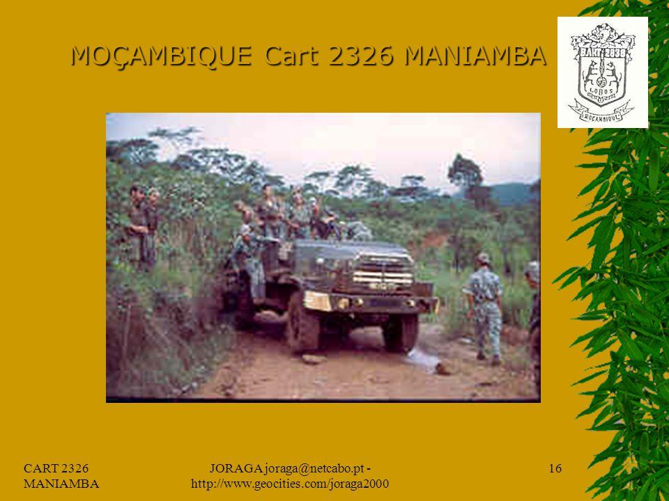 CART 2326 MANIAMBA JORAGA joraga@netcabo.pt - http://www.geocities.com/joraga2000 15 MOÇAMBIQUE Cart 2326 MANIAMBA