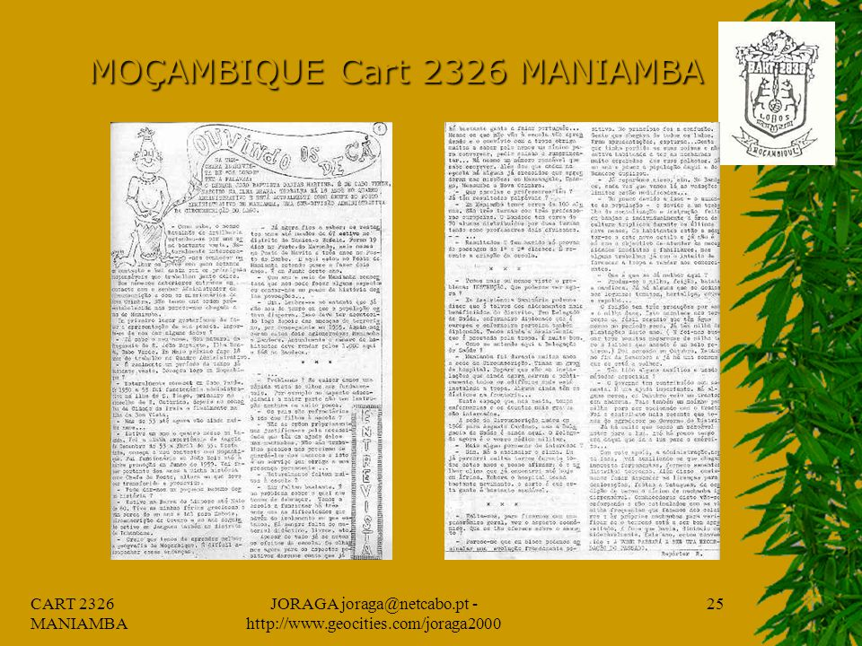 CART 2326 MANIAMBA JORAGA joraga@netcabo.pt - http://www.geocities.com/joraga2000 24 MOÇAMBIQUE Cart 2326 MANIAMBA