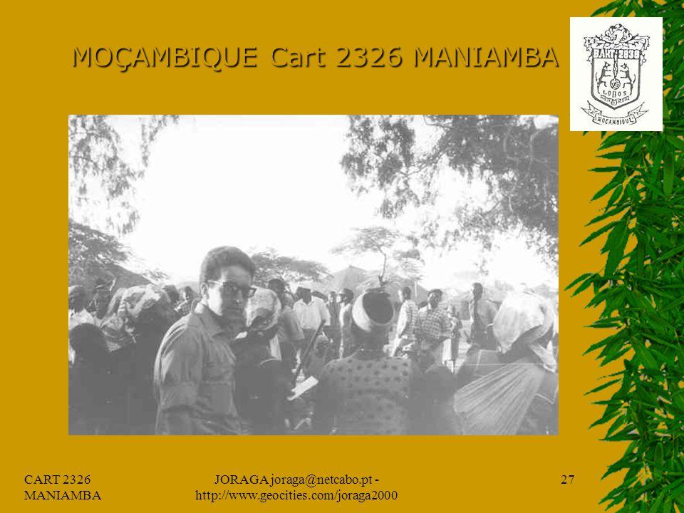 CART 2326 MANIAMBA JORAGA joraga@netcabo.pt - http://www.geocities.com/joraga2000 26 MOÇAMBIQUE Cart 2326 MANIAMBA