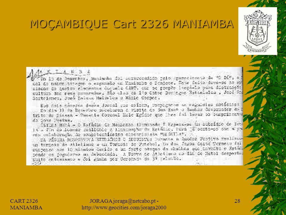 CART 2326 MANIAMBA JORAGA joraga@netcabo.pt - http://www.geocities.com/joraga2000 27 MOÇAMBIQUE Cart 2326 MANIAMBA