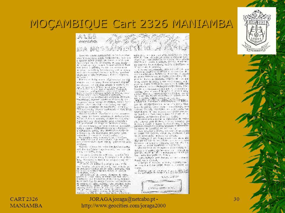 CART 2326 MANIAMBA JORAGA joraga@netcabo.pt - http://www.geocities.com/joraga2000 29 MOÇAMBIQUE Cart 2326 MANIAMBA