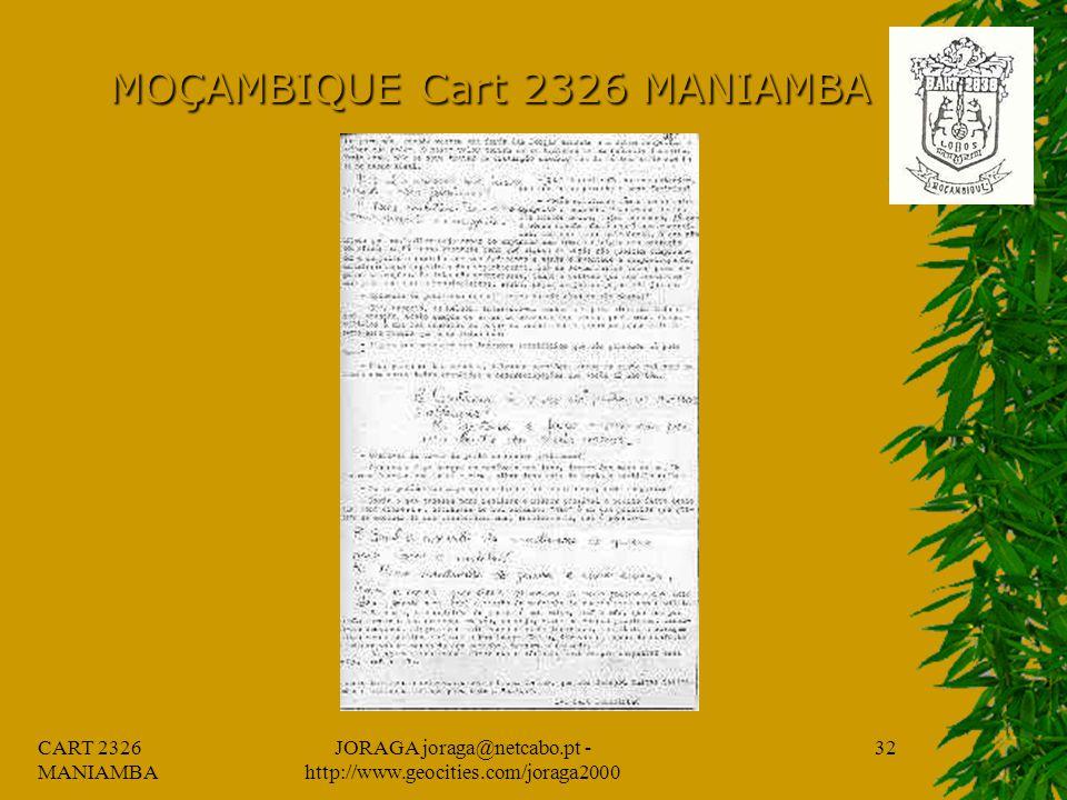 CART 2326 MANIAMBA JORAGA joraga@netcabo.pt - http://www.geocities.com/joraga2000 31 MOÇAMBIQUE Cart 2326 MANIAMBA