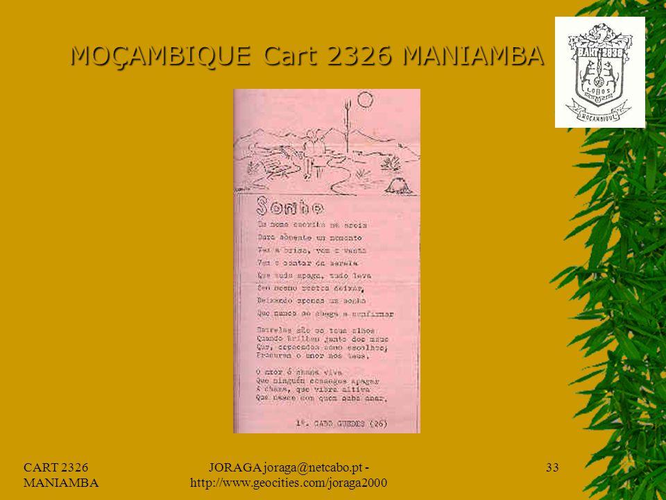 CART 2326 MANIAMBA JORAGA joraga@netcabo.pt - http://www.geocities.com/joraga2000 32 MOÇAMBIQUE Cart 2326 MANIAMBA