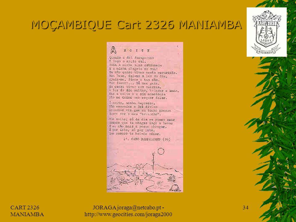 CART 2326 MANIAMBA JORAGA joraga@netcabo.pt - http://www.geocities.com/joraga2000 33 MOÇAMBIQUE Cart 2326 MANIAMBA