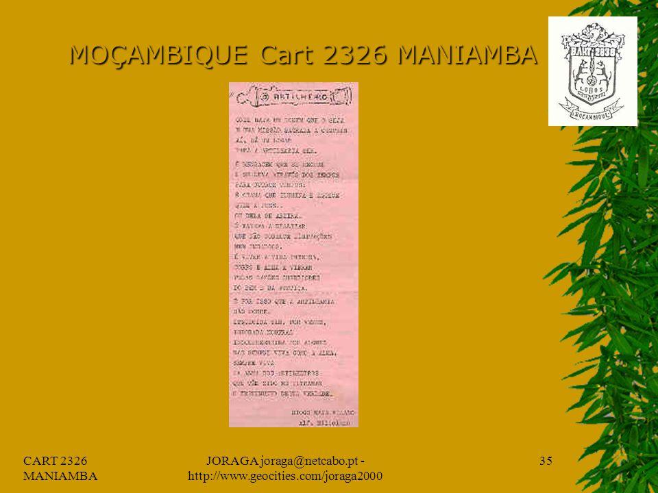CART 2326 MANIAMBA JORAGA joraga@netcabo.pt - http://www.geocities.com/joraga2000 34 MOÇAMBIQUE Cart 2326 MANIAMBA