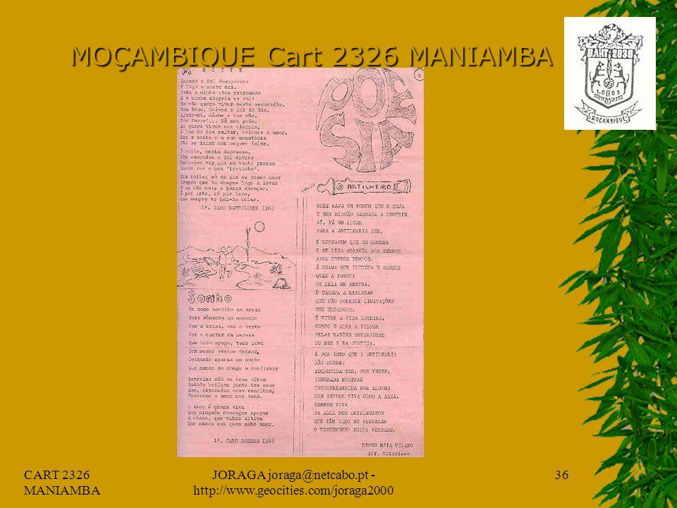 CART 2326 MANIAMBA JORAGA joraga@netcabo.pt - http://www.geocities.com/joraga2000 35 MOÇAMBIQUE Cart 2326 MANIAMBA