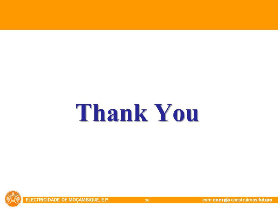 ELECTRICIDADE DE MOÇAMBIQUE, E.P. com energia construimos futuro 36 Thank You