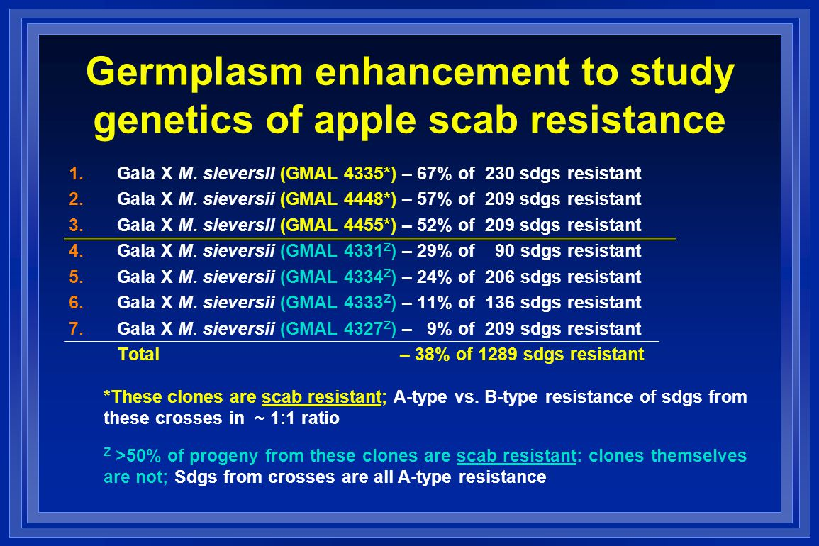 Germplasm enhancement to study genetics of apple scab resistance 1.Gala X M.