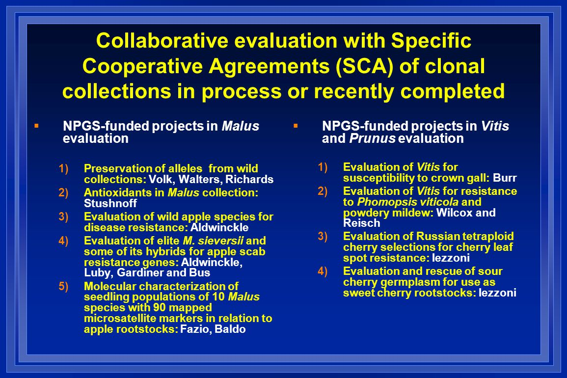 Collaborative evaluation with Specific Cooperative Agreements (SCA) of clonal collections in process or recently completed  NPGS-funded projects in Malus evaluation 1)Preservation of alleles from wild collections: Volk, Walters, Richards 2)Antioxidants in Malus collection: Stushnoff 3)Evaluation of wild apple species for disease resistance: Aldwinckle 4)Evaluation of elite M.
