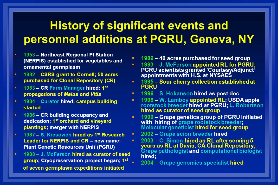 History of significant events and personnel additions at PGRU, Geneva, NY  1953 – Northeast Regional PI Station (NERPIS) established for vegetables and ornamental germplasm  1982 – CSRS grant to Cornell; 50 acres purchased for Clonal Repository (CR)  1983 – CR Farm Manager hired; 1 st propagations of Malus and Vitis  1984 – Curator hired; campus building started  1986 – CR building occupancy and dedication; 1 st orchard and vineyard plantings; merger with NERPIS  1987 – S.