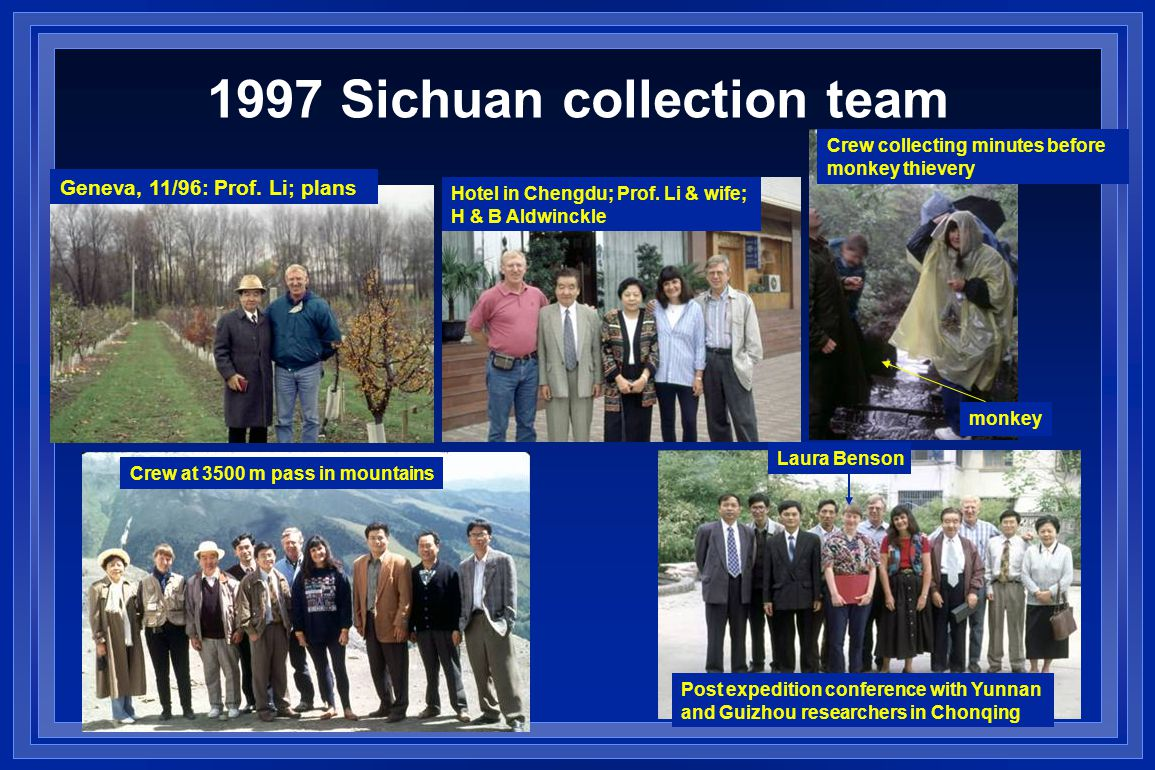 1997 Sichuan collection team Geneva, 11/96: Prof. Li; plans Hotel in Chengdu; Prof.