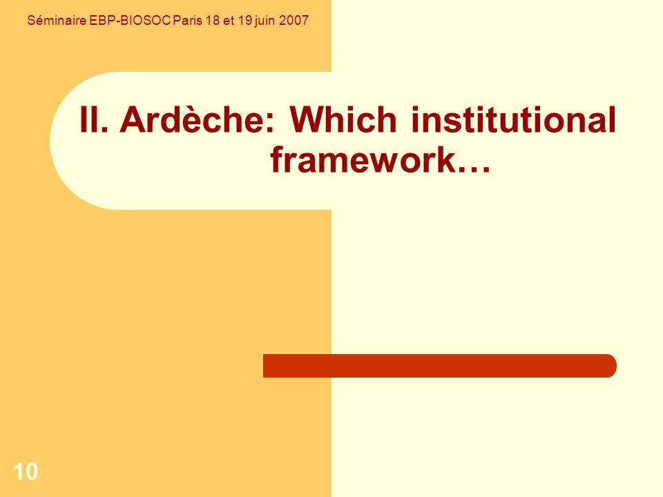 10 II. Ardèche: Which institutional framework… Séminaire EBP-BIOSOC Paris 18 et 19 juin 2007