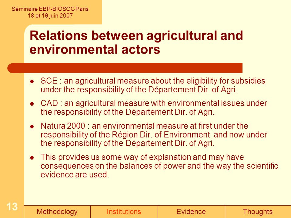 13 Relations between agricultural and environmental actors SCE : an agricultural measure about the eligibility for subsidies under the responsibility of the Département Dir.