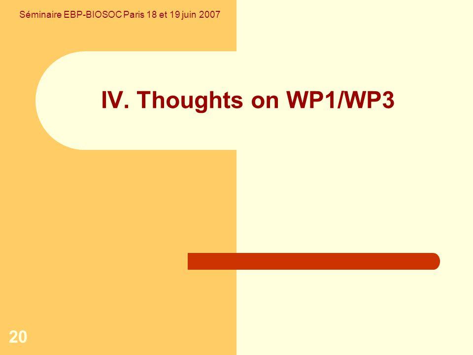 20 IV. Thoughts on WP1/WP3 Séminaire EBP-BIOSOC Paris 18 et 19 juin 2007