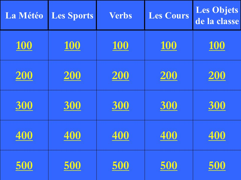 200 300 400 500 100 200 300 400 500 100 200 300 400 500 100 200 300 400 500 100 200 300 400 500 100 La MétéoLes SportsVerbsLes Cours Les Objets de la