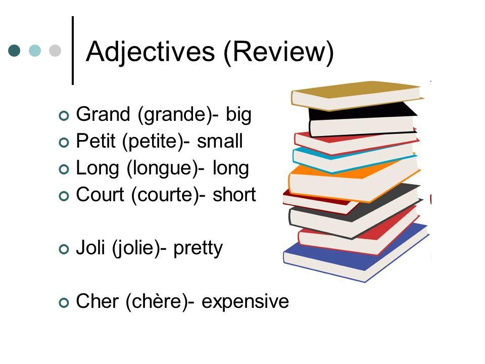 Adjectives (Review) Grand (grande)- big Petit (petite)- small Long (longue)- long Court (courte)- short Joli (jolie)- pretty Cher (chère)- expensive