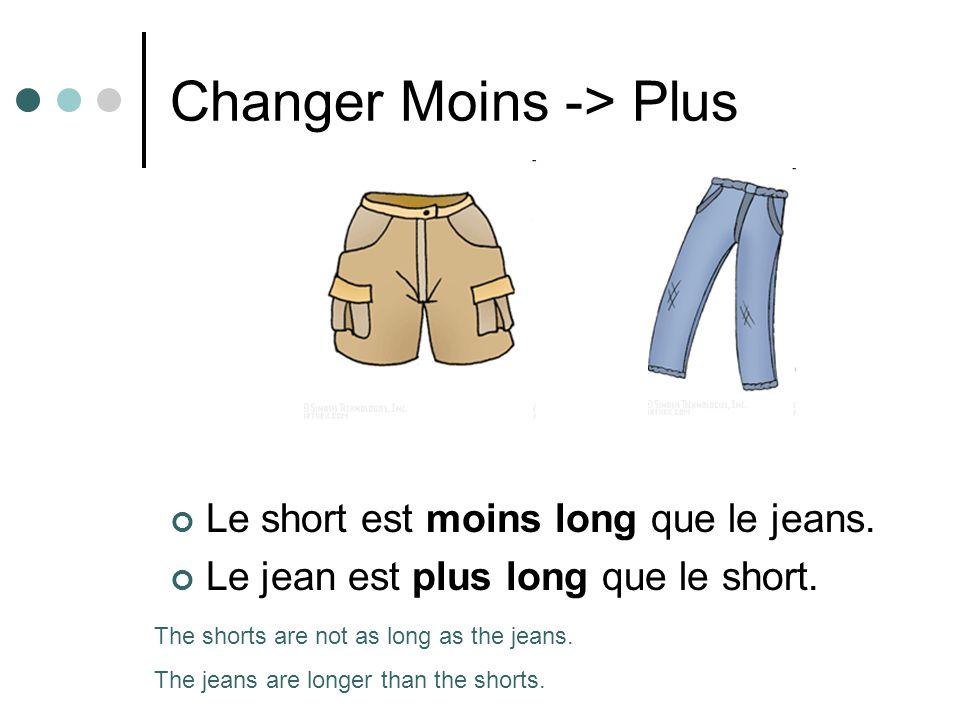 Changer Moins -> Plus Le short est moins long que le jeans.