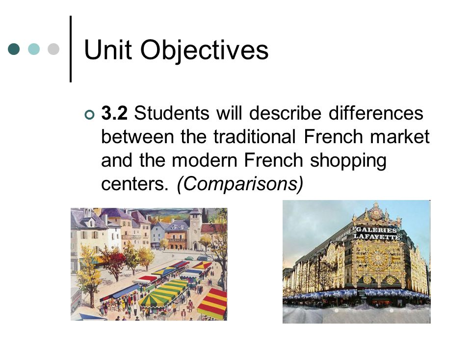 Unit Objectives 3.2 Students will describe differences between the traditional French market and the modern French shopping centers.
