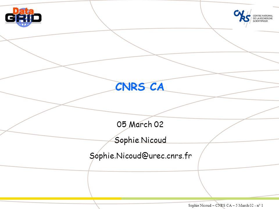 Sophie Nicoud – CNRS CA – 5 March 02 - n° 1 CNRS CA 05 March 02 Sophie Nicoud Sophie.Nicoud@urec.cnrs.fr