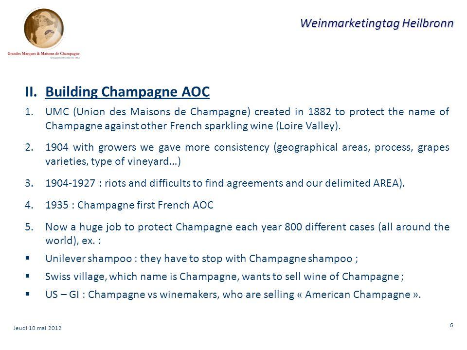 7 Weinmarketingtag Heilbronn III.Champagne market 1.2011 : 323 millions bottle.