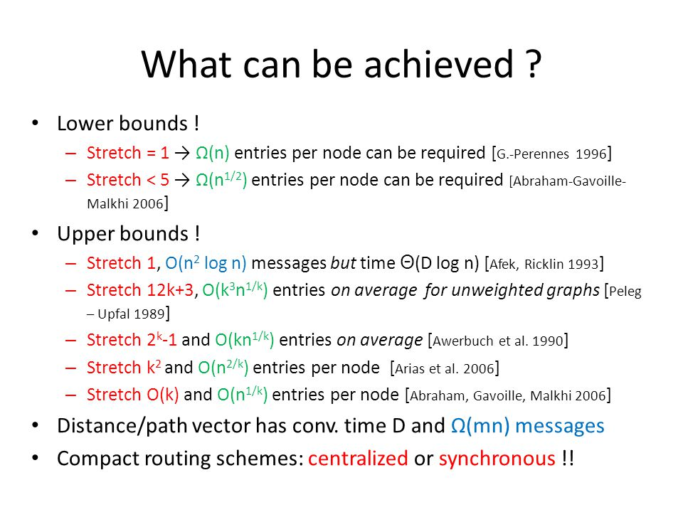 What can be achieved .Lower bounds .