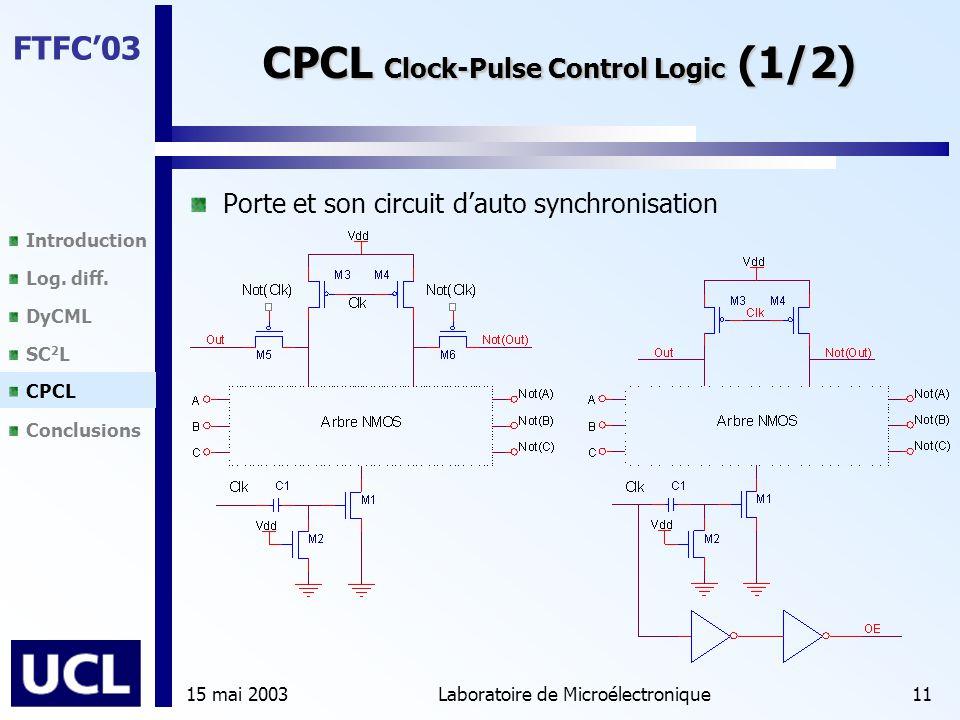 Introduction Log. diff. DyCML SC 2 L CPCL Conclusions FTFC'03 15 mai 2003Laboratoire de Microélectronique11 CPCL Clock-Pulse Control Logic (1/2) Porte