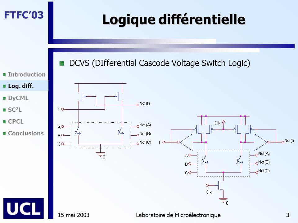 Introduction Log. diff. DyCML SC 2 L CPCL Conclusions FTFC'03 15 mai 2003Laboratoire de Microélectronique3 Logique différentielle DCVS (DIfferential C