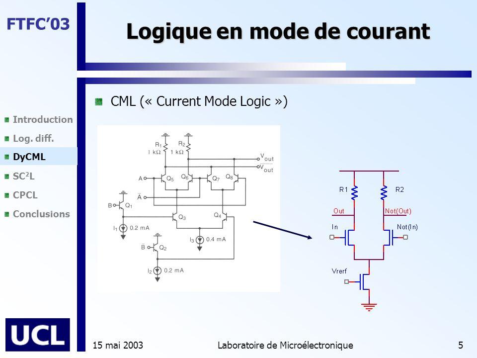 Introduction Log. diff. DyCML SC 2 L CPCL Conclusions FTFC'03 15 mai 2003Laboratoire de Microélectronique5 Logique en mode de courant CML (« Current M