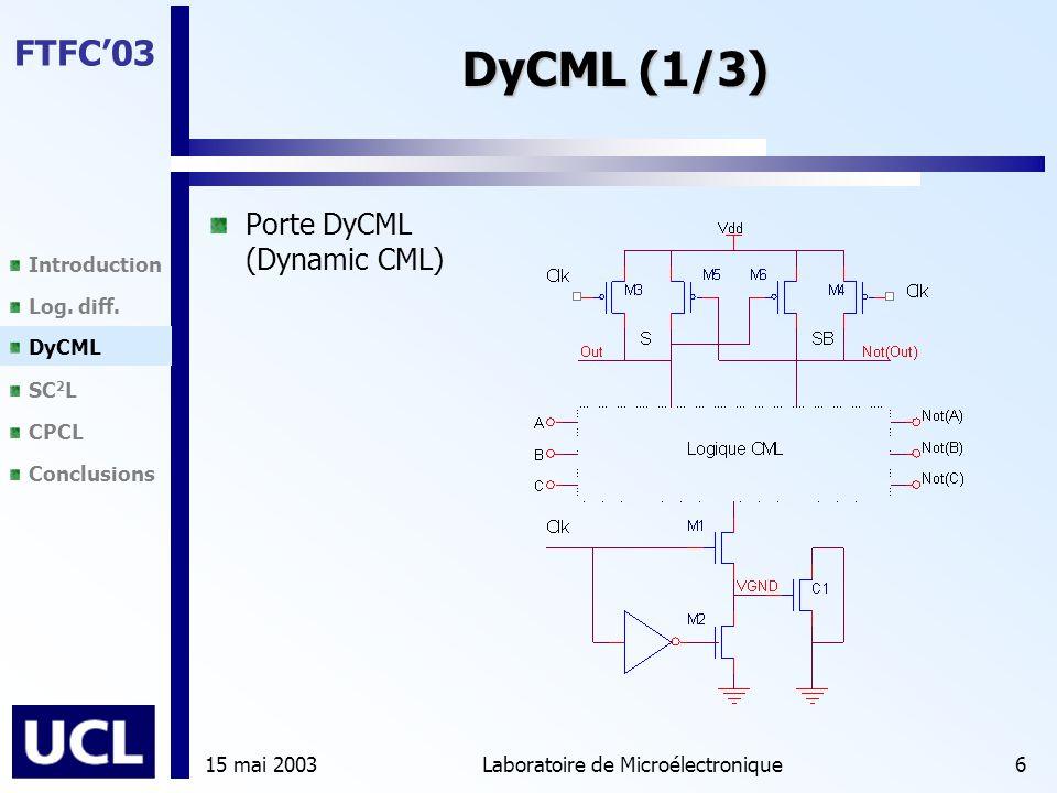 Introduction Log. diff. DyCML SC 2 L CPCL Conclusions FTFC'03 15 mai 2003Laboratoire de Microélectronique6 DyCML (1/3) Porte DyCML (Dynamic CML) DyCML