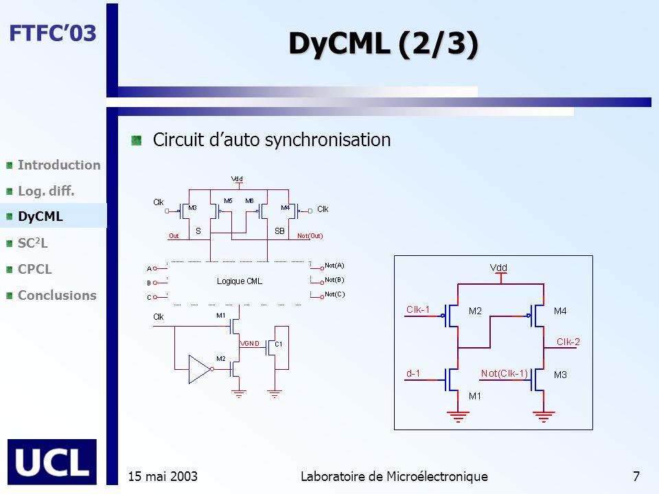 Introduction Log. diff. DyCML SC 2 L CPCL Conclusions FTFC'03 15 mai 2003Laboratoire de Microélectronique7 DyCML (2/3) Circuit d'auto synchronisation