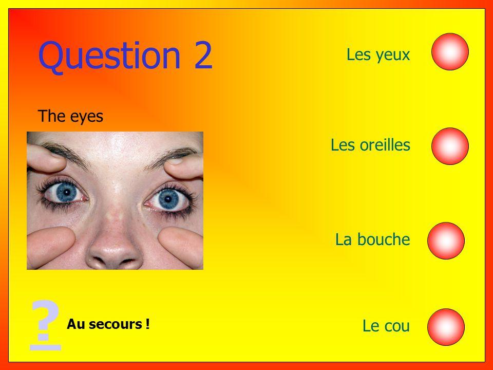 Question 2 Au secours ! ? The eyes Les yeux Les oreilles La bouche Le cou