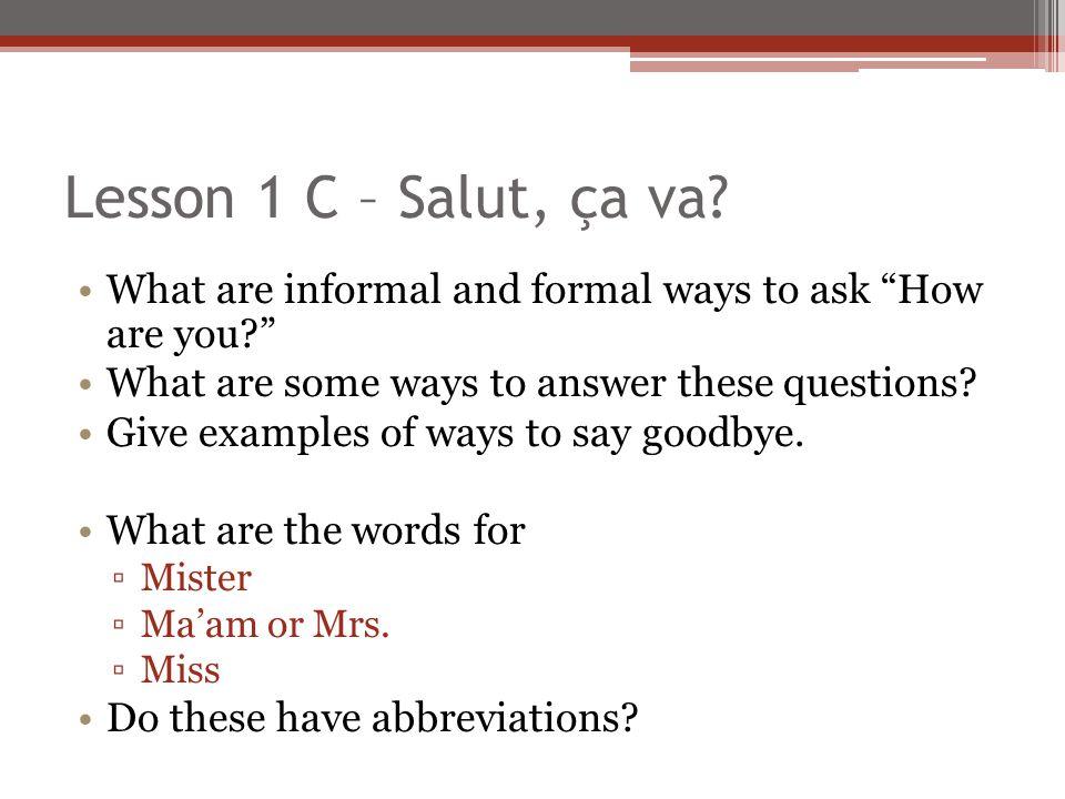 Lesson 1 C – Salut, ça va.