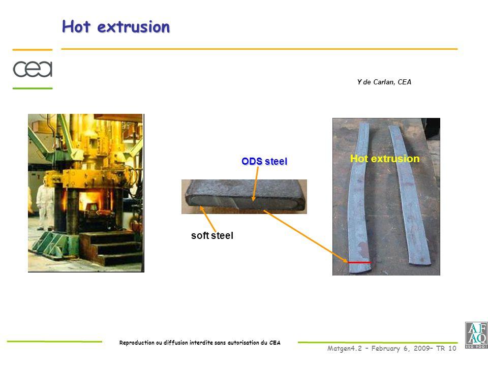 Reproduction ou diffusion interdite sans autorisation du CEA Matgen4.2 – February 6, 2009– TR 10 Hot extrusion soft steel ODS steel Hot extrusion Y de Carlan, CEA