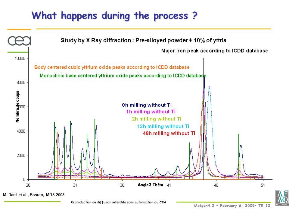 Reproduction ou diffusion interdite sans autorisation du CEA Matgen4.2 – February 6, 2009– TR 12 M.