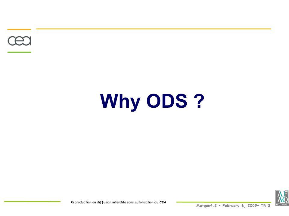 Reproduction ou diffusion interdite sans autorisation du CEA Matgen4.2 – February 6, 2009– TR 3 Why ODS