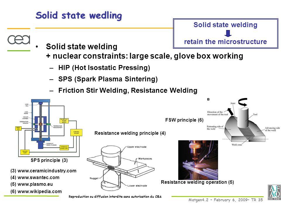 Reproduction ou diffusion interdite sans autorisation du CEA Matgen4.2 – February 6, 2009– TR 35 SPS principle (3) (3) www.ceramicindustry.com Resistance welding principle (4) (4) www.swantec.com Resistance welding operation (5) (5) www.plasmo.eu FSW principle (6) (6) www.wikipedia.com Solid state welding retain the microstructure Solid state wedling Solid state welding + nuclear constraints: large scale, glove box working –HIP (Hot Isostatic Pressing) –SPS (Spark Plasma Sintering) –Friction Stir Welding, Resistance Welding