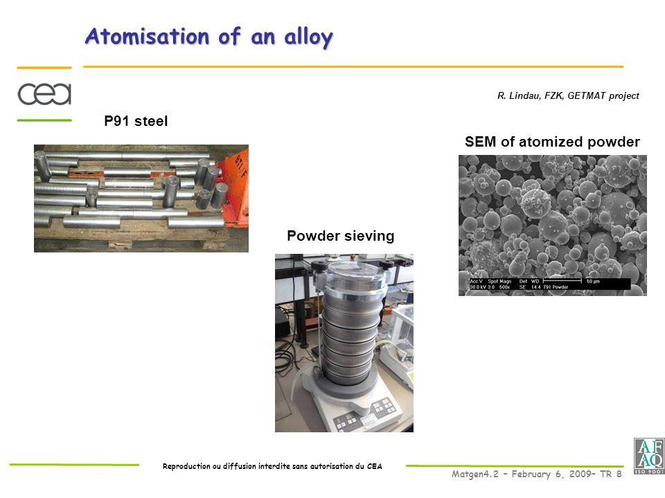 Reproduction ou diffusion interdite sans autorisation du CEA Matgen4.2 – February 6, 2009– TR 8 Atomisation of an alloy R.