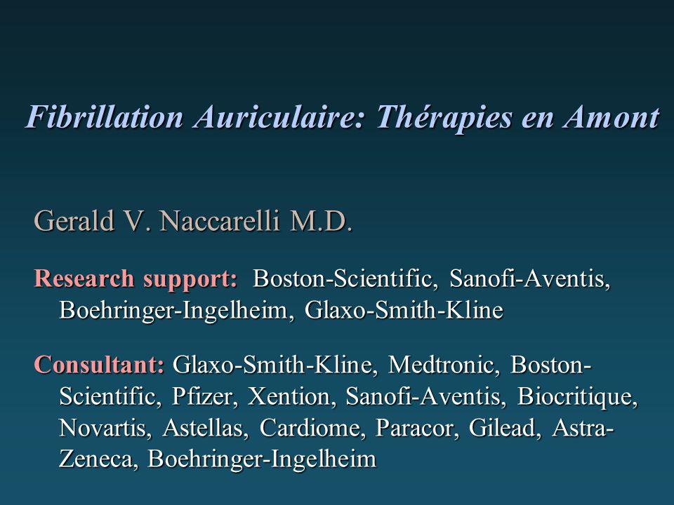 Fibrillation Auriculaire: Thérapies en Amont Fibrillation Auriculaire: Thérapies en Amont Gerald V. Naccarelli M.D. Research support: Boston-Scientifi