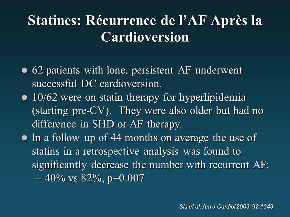 Statines: Récurrence de l'AF Après la Cardioversion 62 patients with lone, persistent AF underwent successful DC cardioversion. 62 patients with lone,