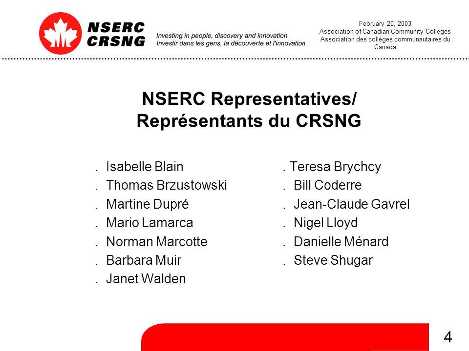 4 February 20, 2003 Association of Canadian Community Colleges Association des collèges communautaires du Canada NSERC Representatives/ Représentants du CRSNG.