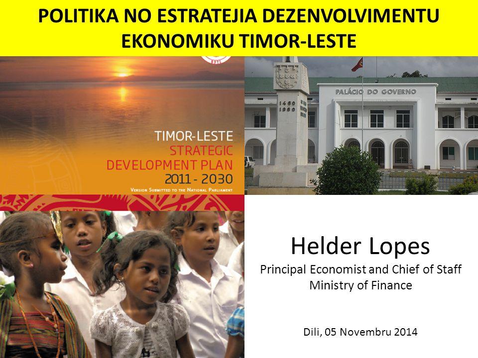POLITIKA NO ESTRATEJIA DEZENVOLVIMENTU EKONOMIKU TIMOR-LESTE Helder Lopes Principal Economist and Chief of Staff Ministry of Finance Dili, 05 Novembru